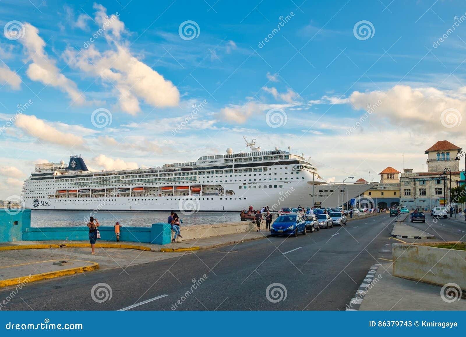 The Modern Cruiser Ship MSC ARMONIA Docked In The Port Of Havana - Msc armonia