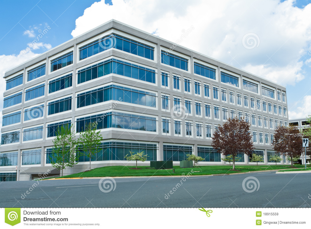 Modern cube shaped office building parking lot md royalty for Cost to build a house in maryland