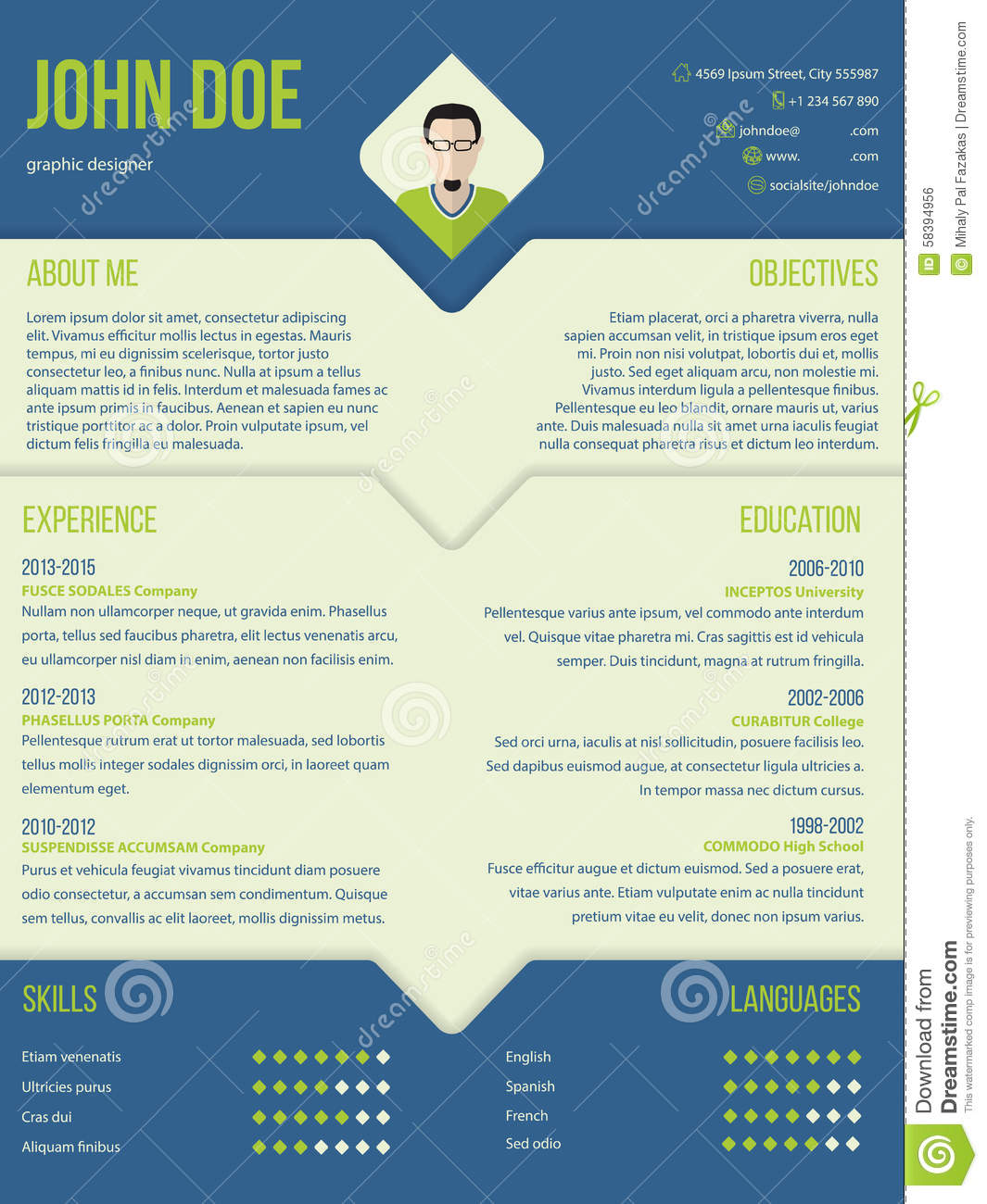 Modern curriculum cv resume template design in blue and green color ...