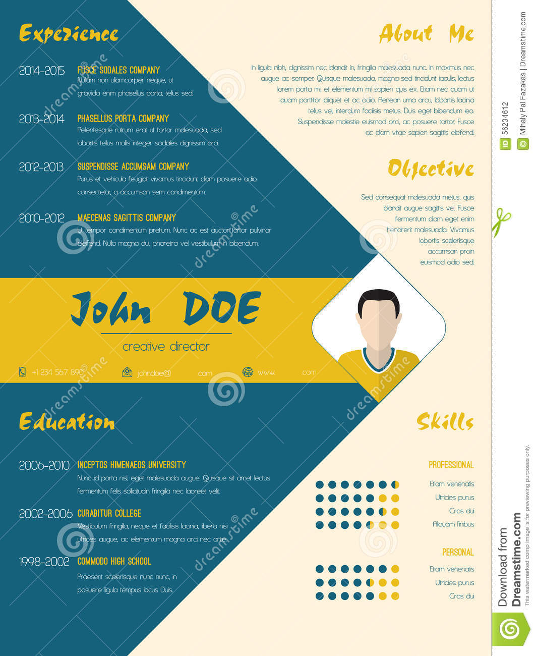 modern curriculum vitae cv resume template in blue and orange stock vector
