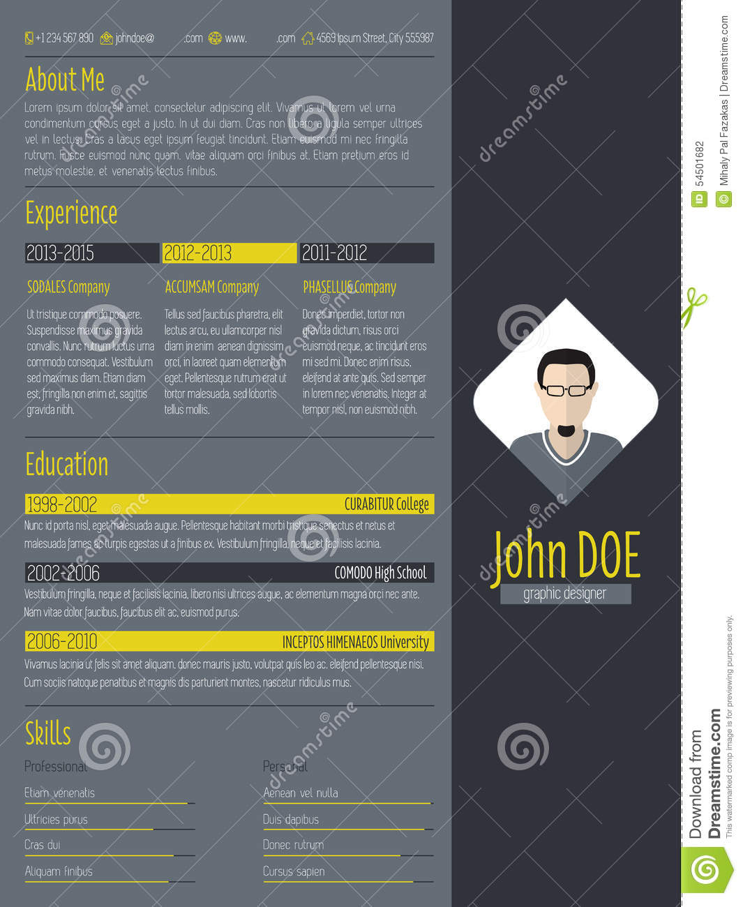 Modern Curriculum Vitae Resume With Dark Background Stock Vector
