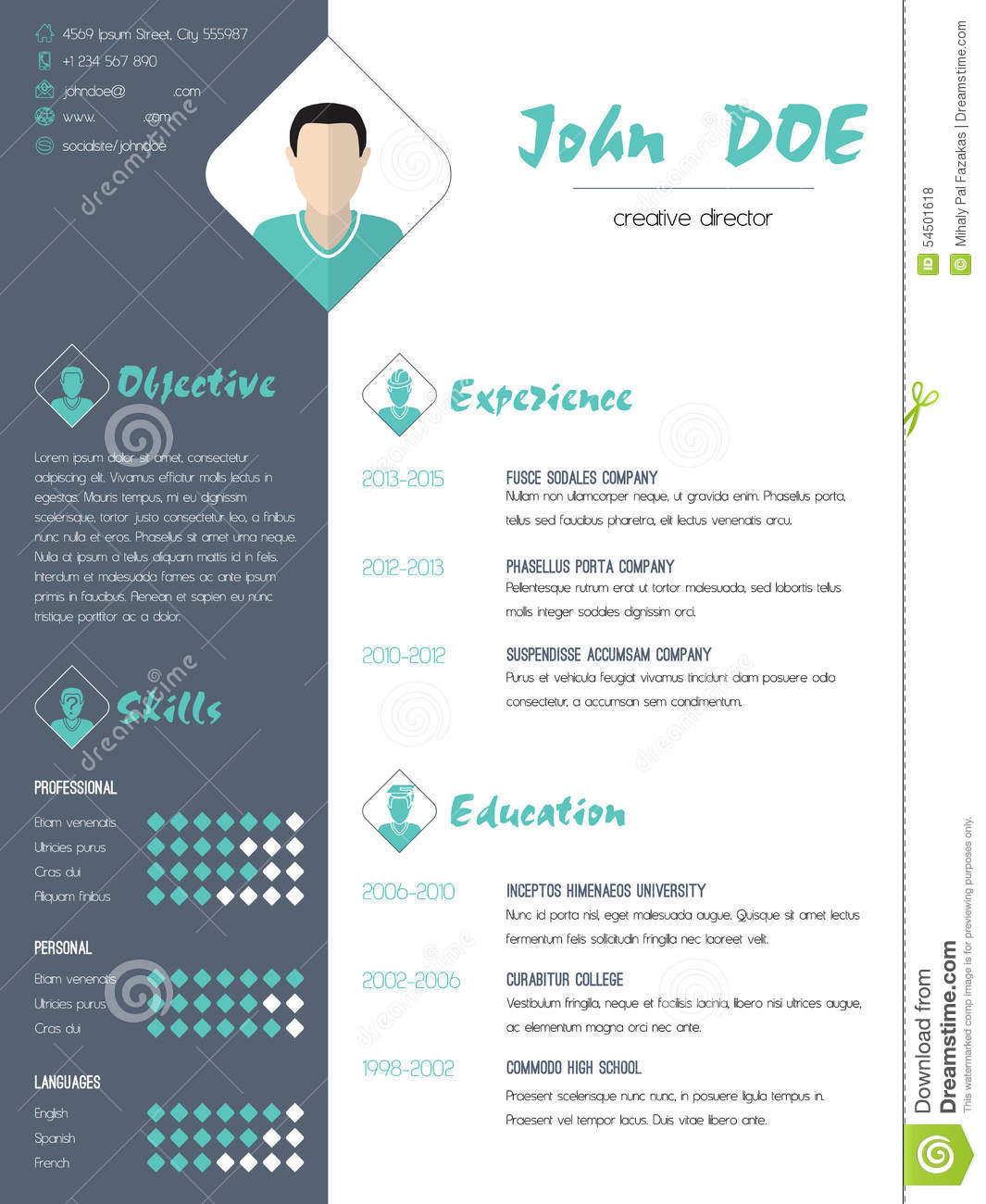 modern curriculum vitae resume with photo stock vector