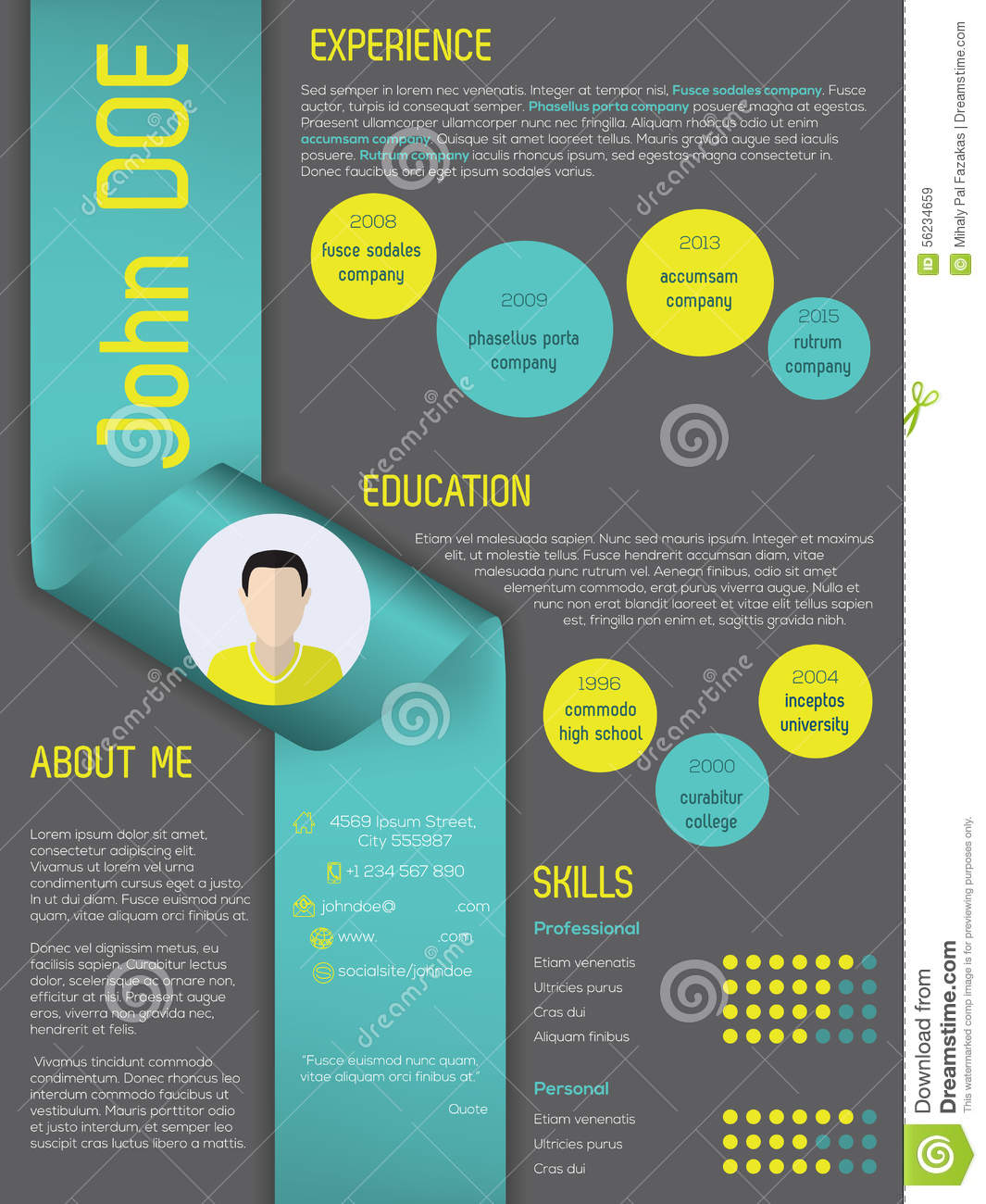 Modern Curriculum Vitae Resume Template With Ribbon Stock Vector