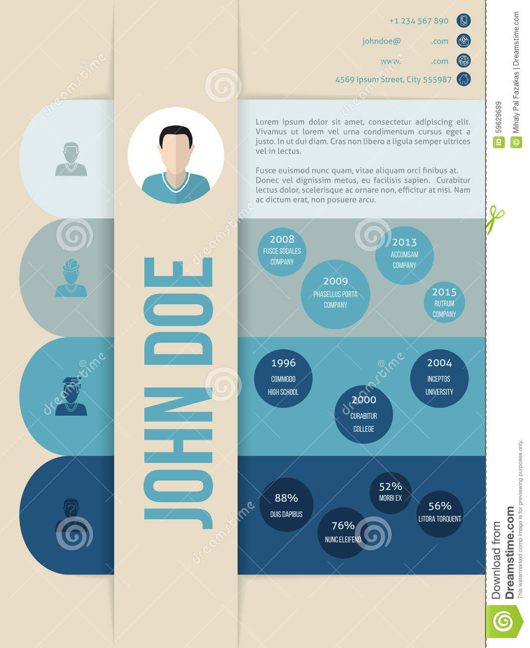 modern cv curriculum vitae resume template in blue shades stock vector