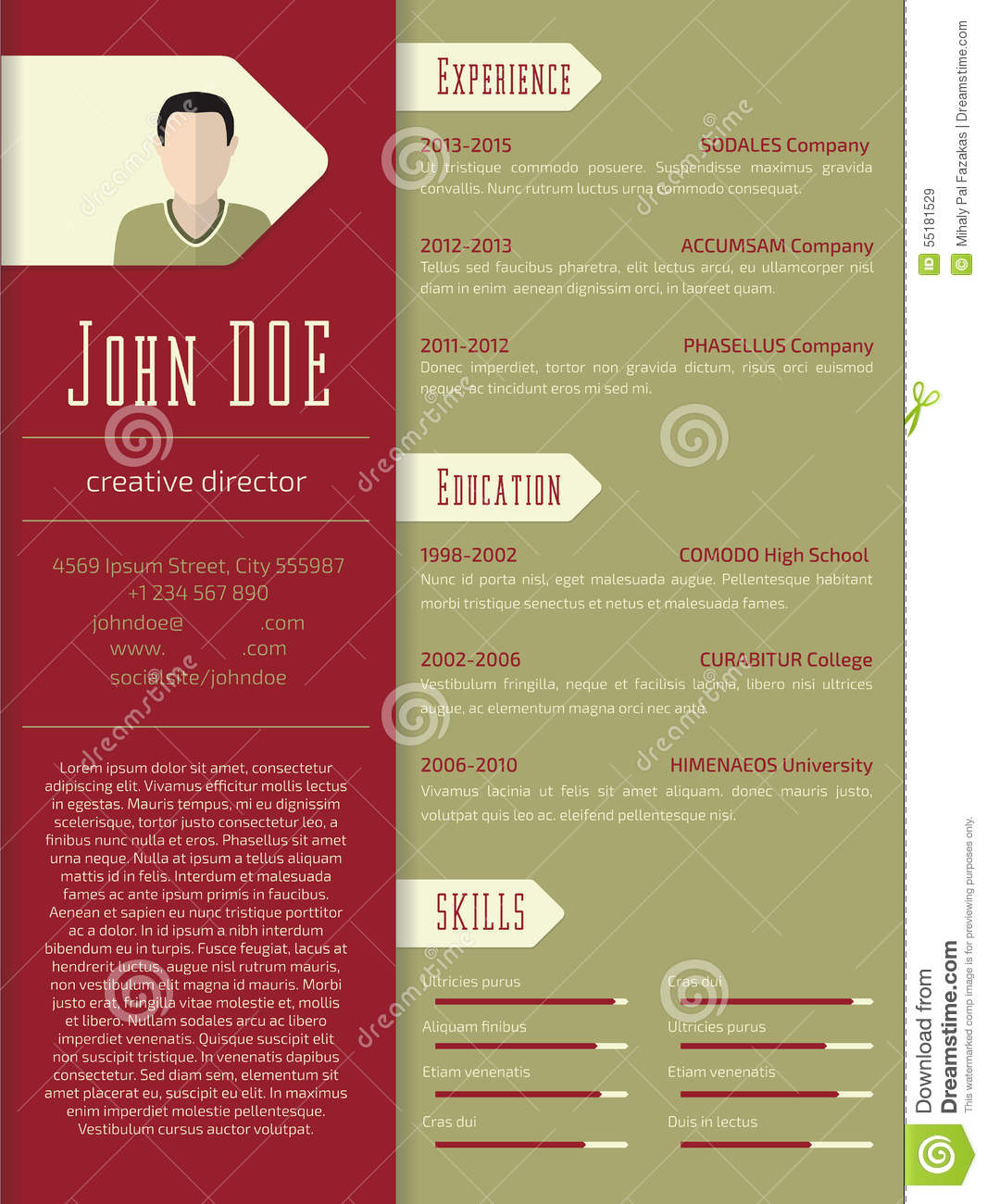 Download Modern Cv Resume Template Design Stock Illustration   Illustration  Of Page, Paragraph: 55181529