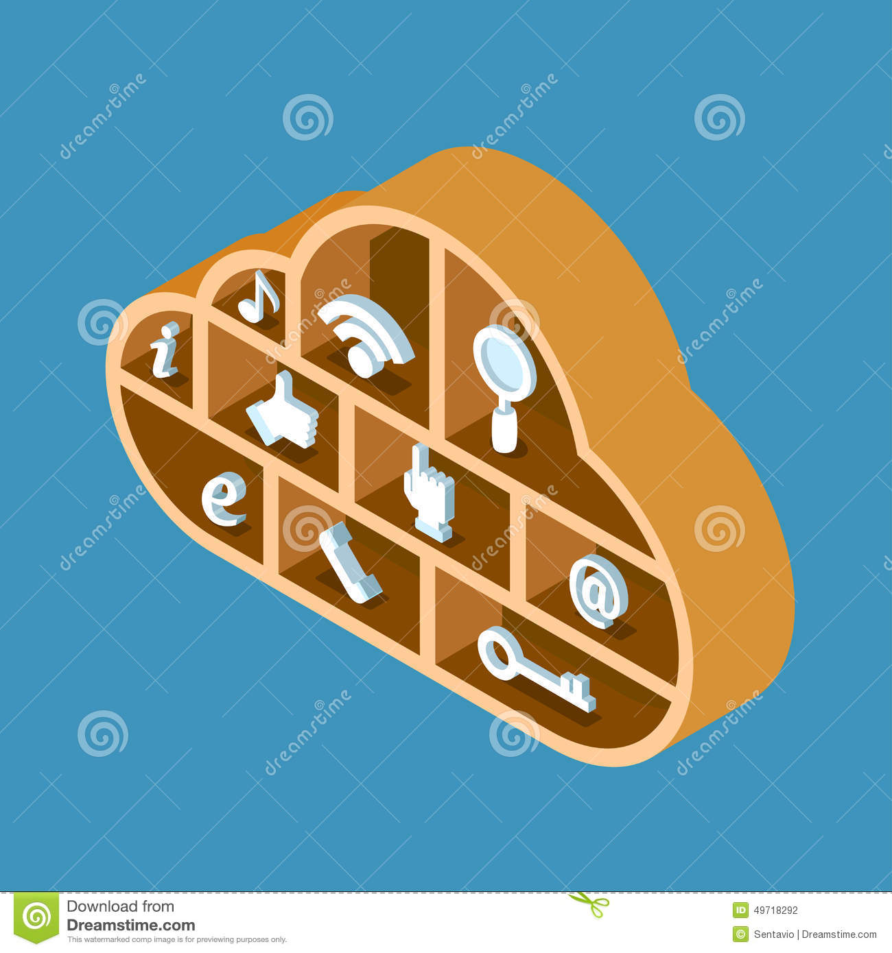 Modern 3d Flat Design Isometric Concept For Cloud Service Online Media File  Data Backup Storage. Cloud Shape Wooden Library Shelf With Icon Set.