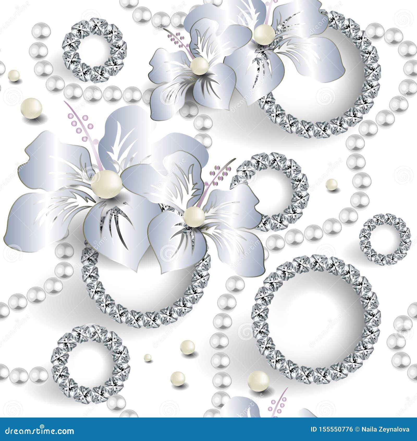 Modern 3d juwelen naadloos patroon Sier witte huwelijksachtergrond Het bloemenornament van de oppervlakteluxe met lelieorchidee