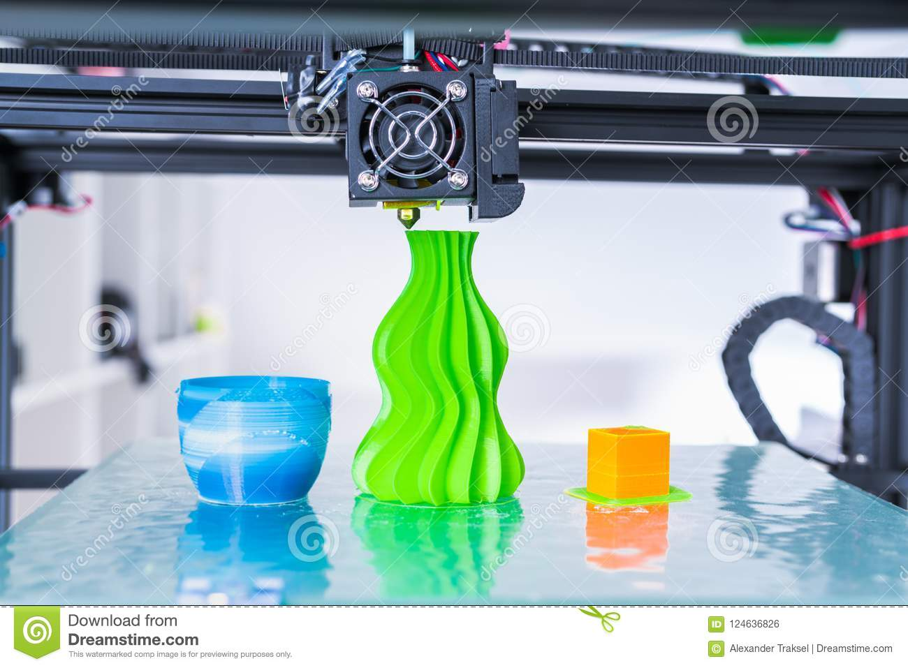 3d printer mechanism working during the processes. Modern 3D printing..