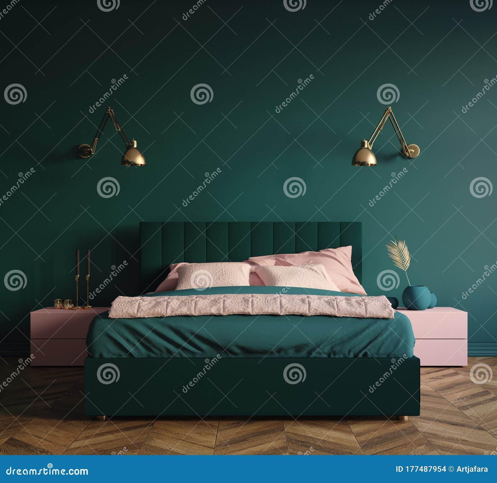 Modern Dark Green Bedroom Interior Stock Illustration Illustration Of Decor Decoration 177487954