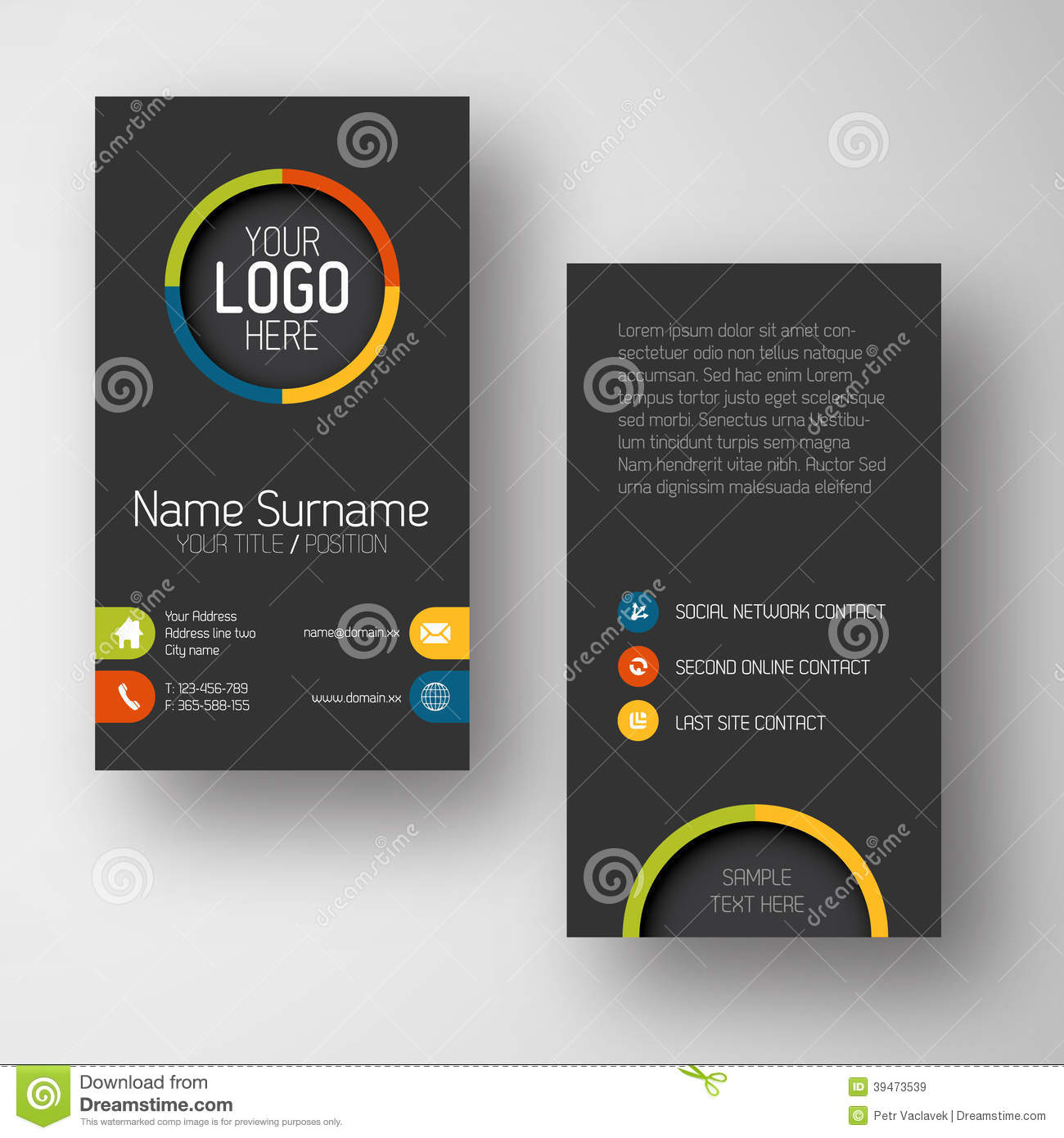 Modern dark vertical business card template with flat user interface download comp flashek Image collections