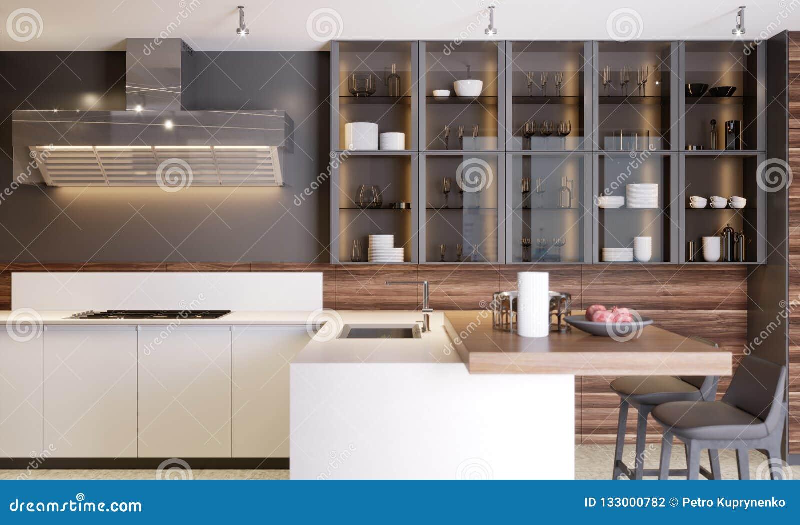 Modern Dark Wooden Contemporary Kitchen Interior With Glass