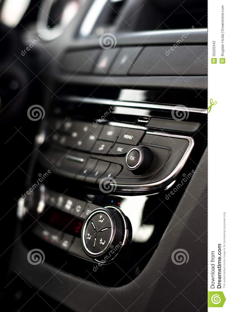 modern dashboard with clima controls in car interior stock photo image 30220342. Black Bedroom Furniture Sets. Home Design Ideas