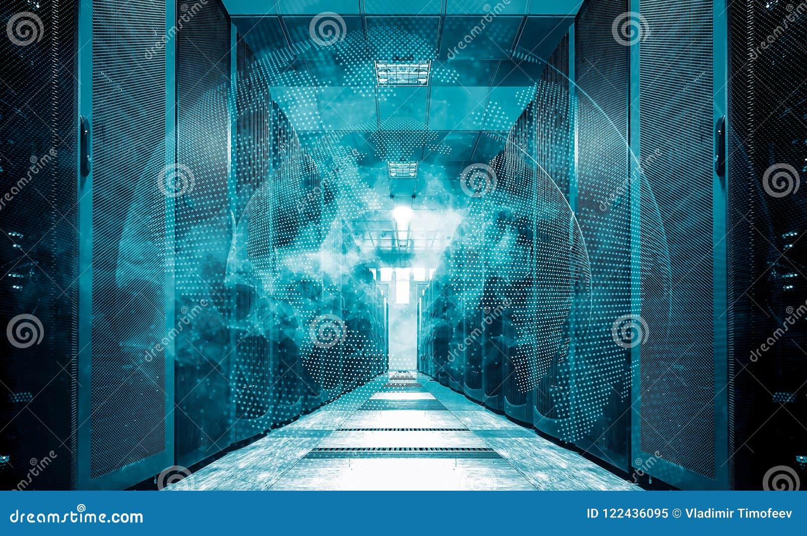 Digital white Earth network flying over server room data center