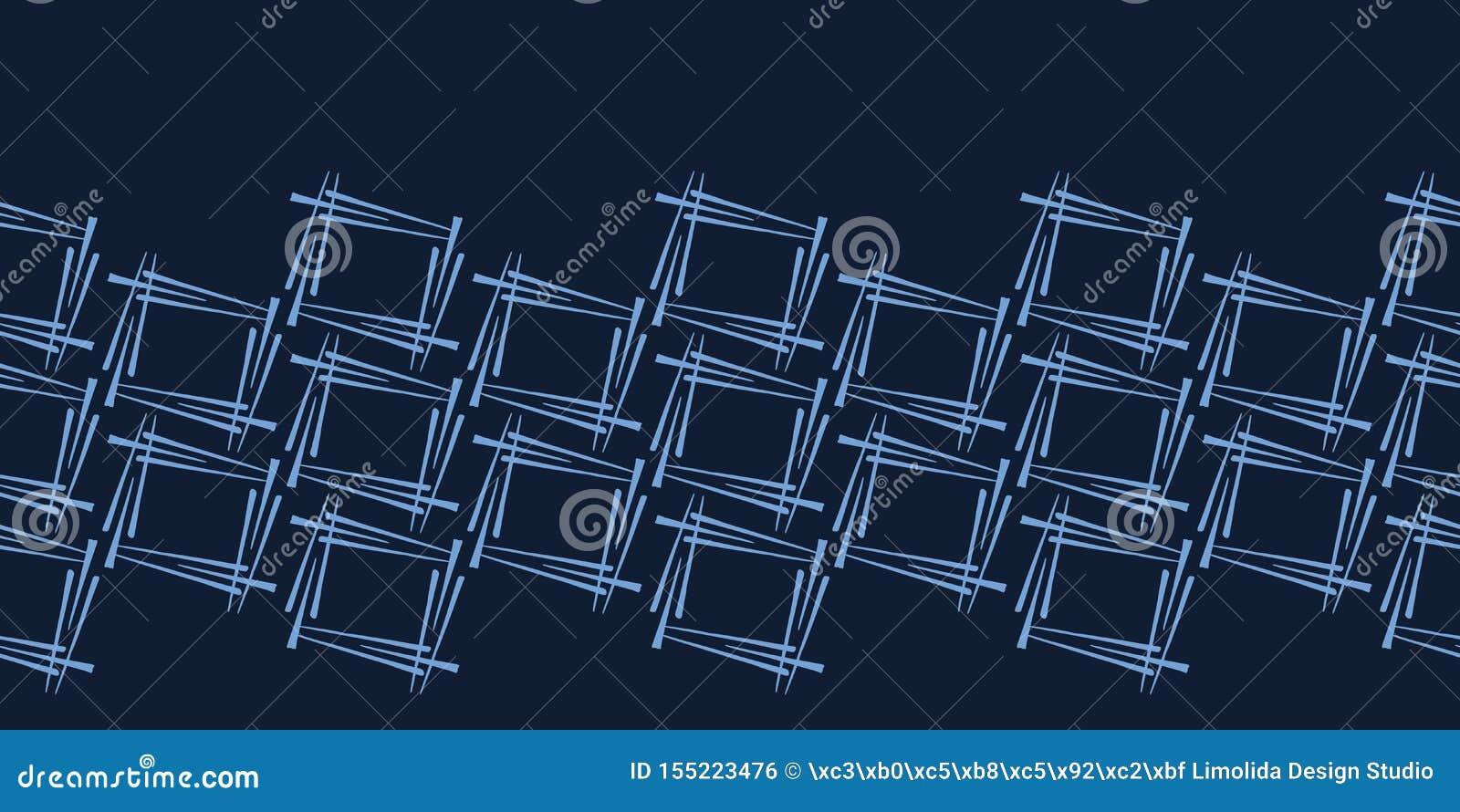 Modern de grenspatroon van indigo blauw geometrisch hand getrokken vierkanten Het herhalen van abstracte achtergrond Sier zwart-w