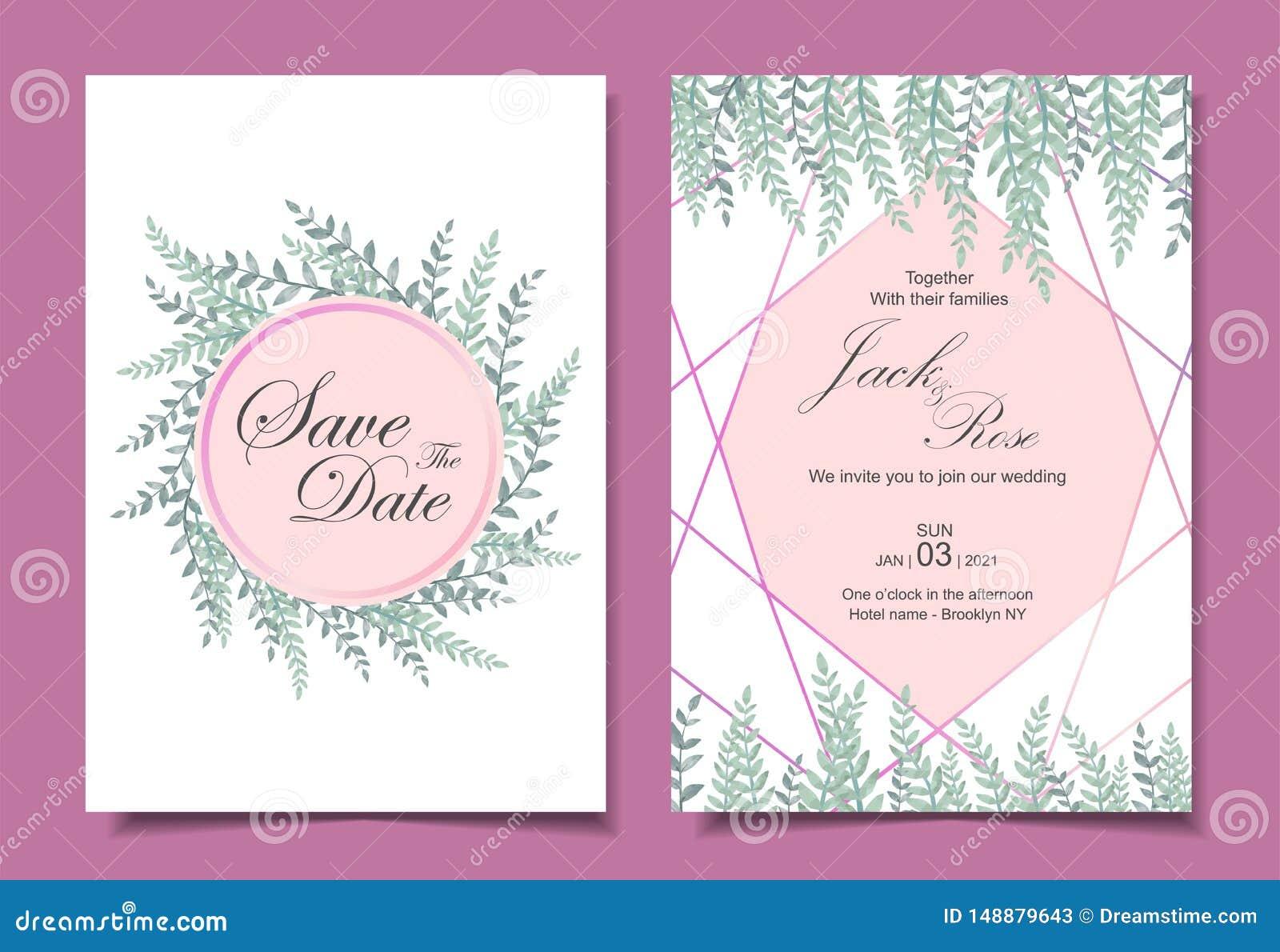 Modern de Kaartmalplaatje 2 van de Huwelijksuitnodiging Verschillende Kaarten Waterverfbladeren met Gouden Geometrische Vorm Spar