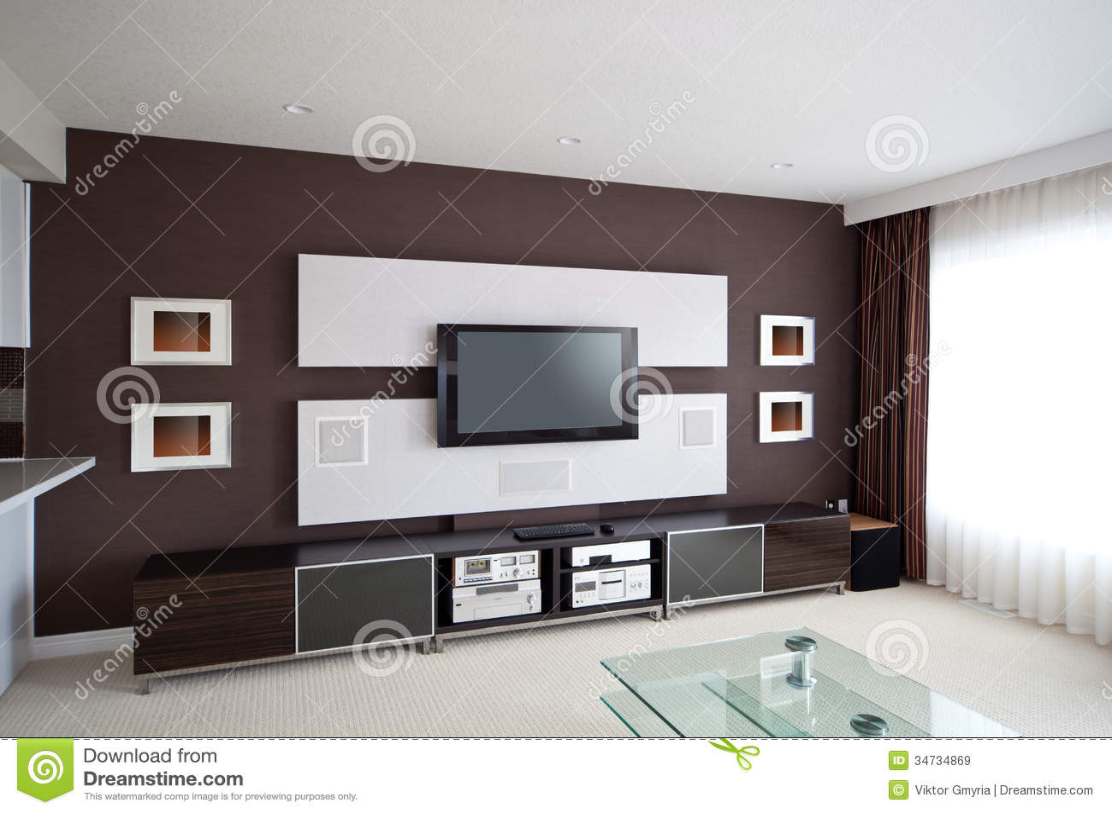 Modern de zaal van het huistheater binnenland met vlakke het schermtv stock afbeelding - Versiering van de zaal van het tienermeisje van ...