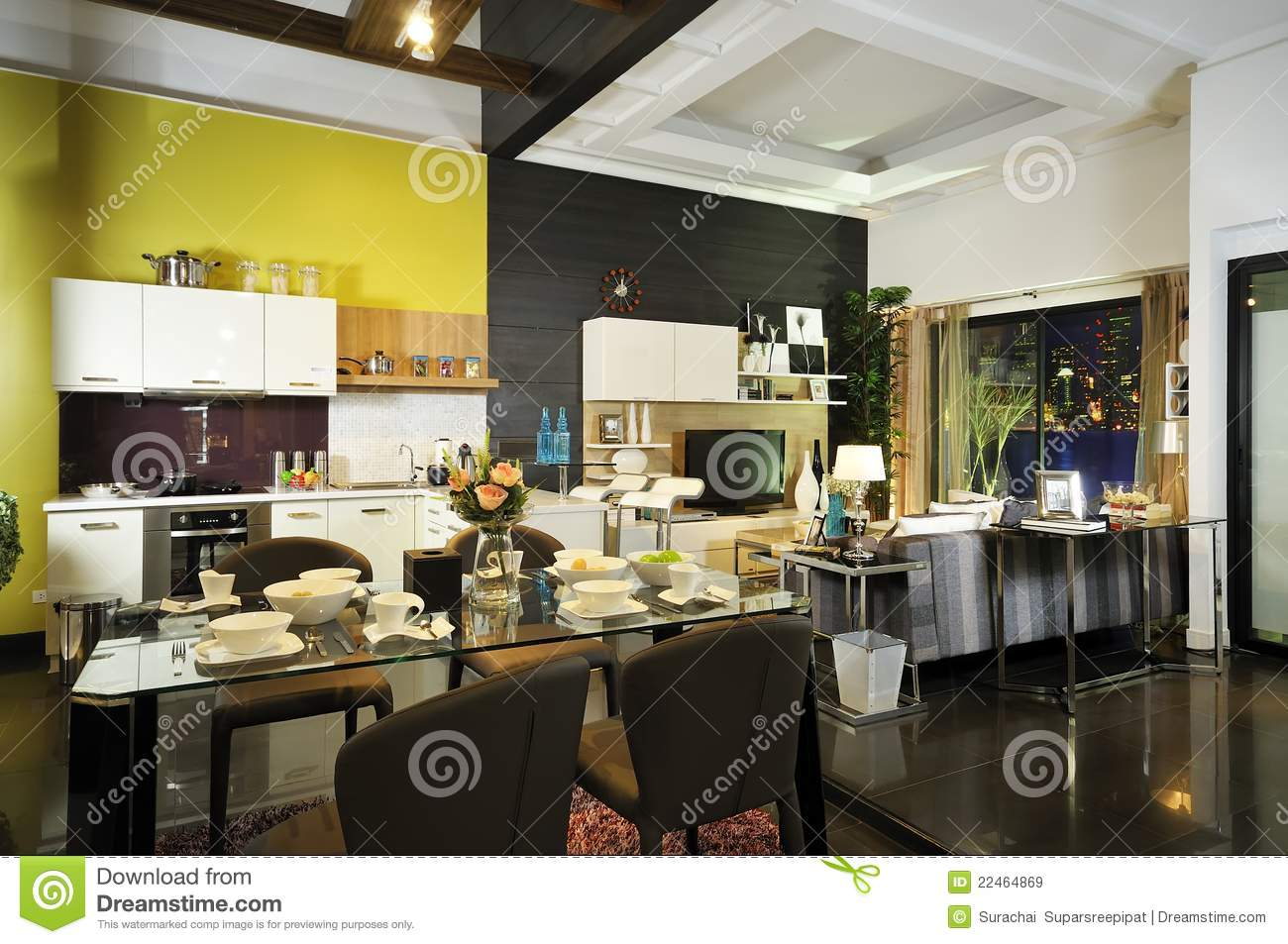 Modern decor Living and dining room 01