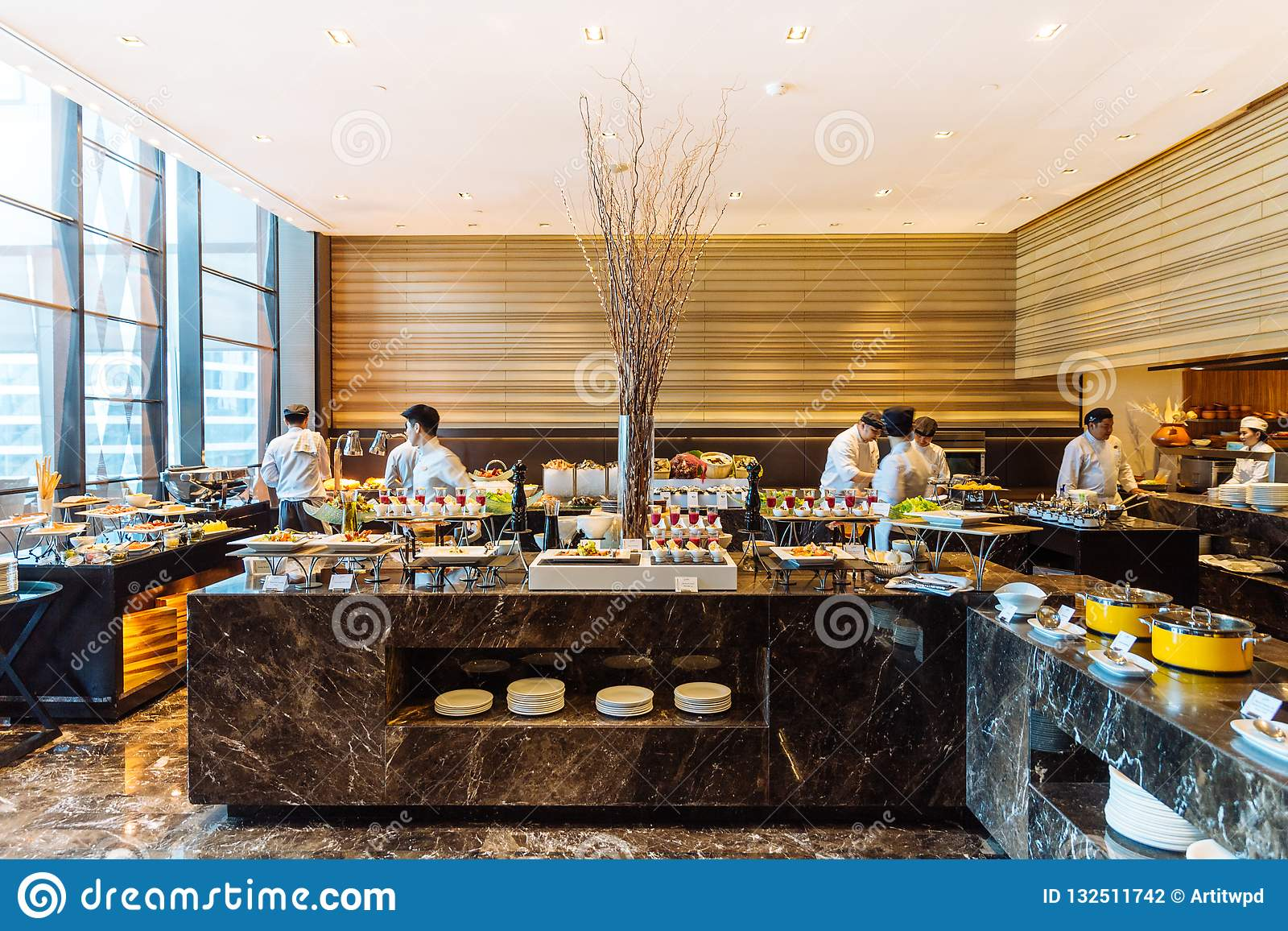 Modern Decorated Interior Buffet Line Counter In Hotel Editorial Photography Image Of Design Delicious 132511742