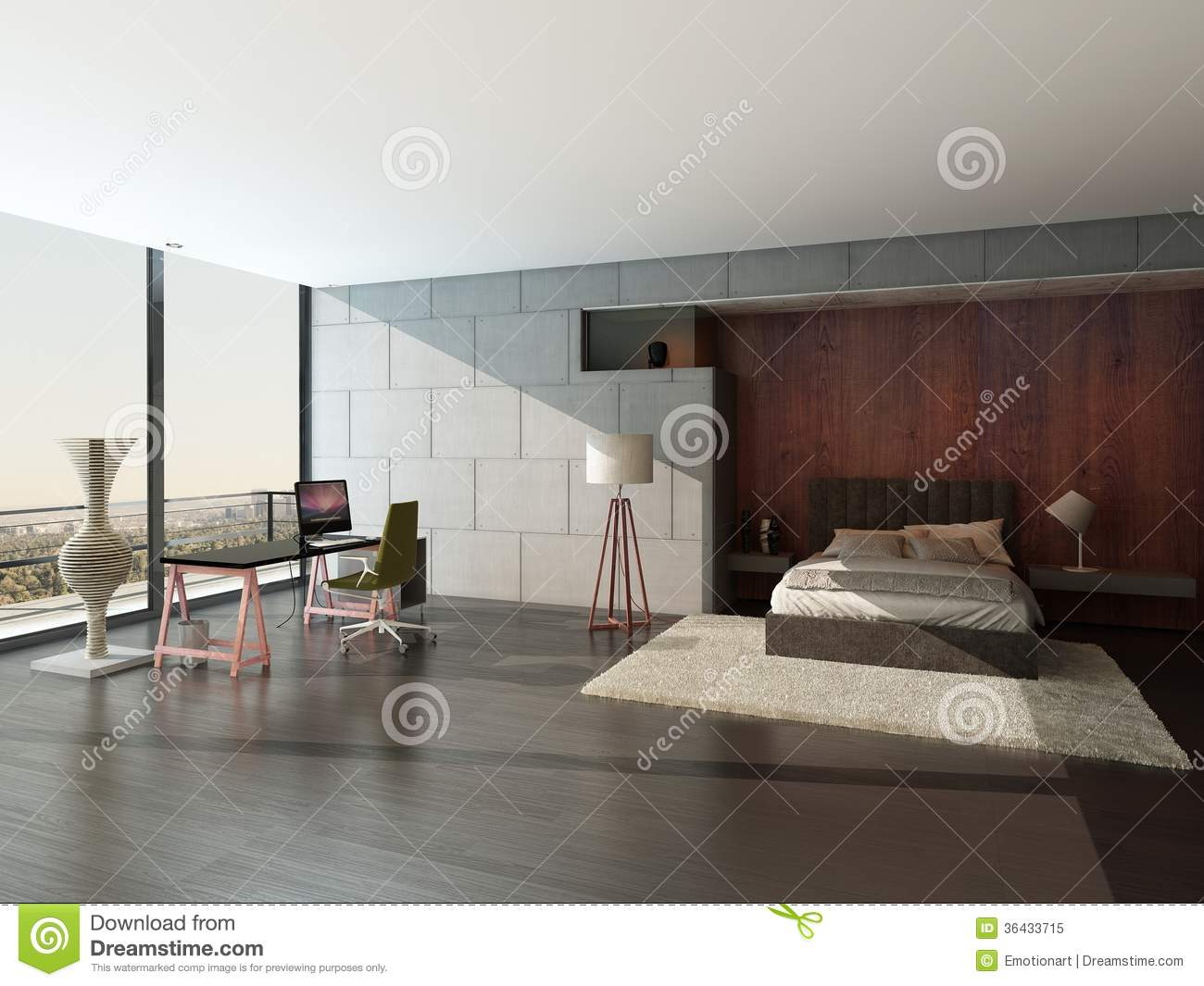 Modern Style Bedrooms Modern Factory Style Bedroom Interior With Concrete Wall Stock