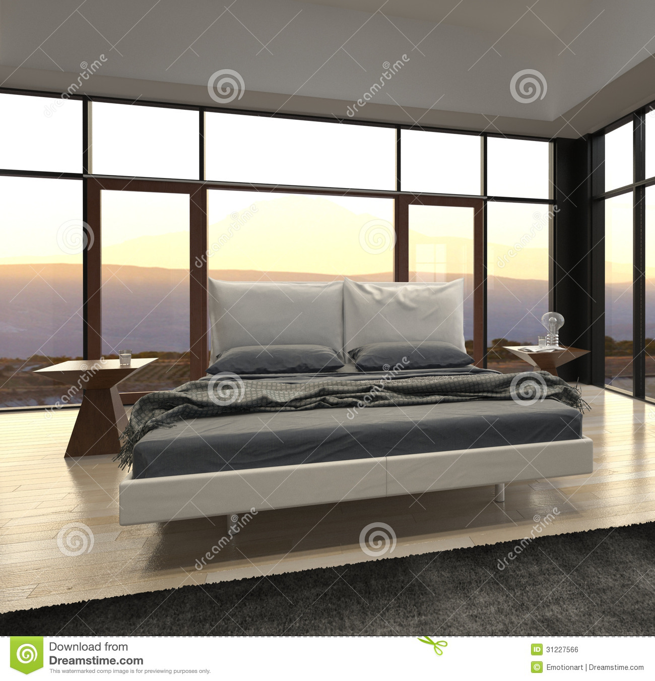 Modern design bedroom with landscape view royalty free stock image image 31227566 - Image bed room ...