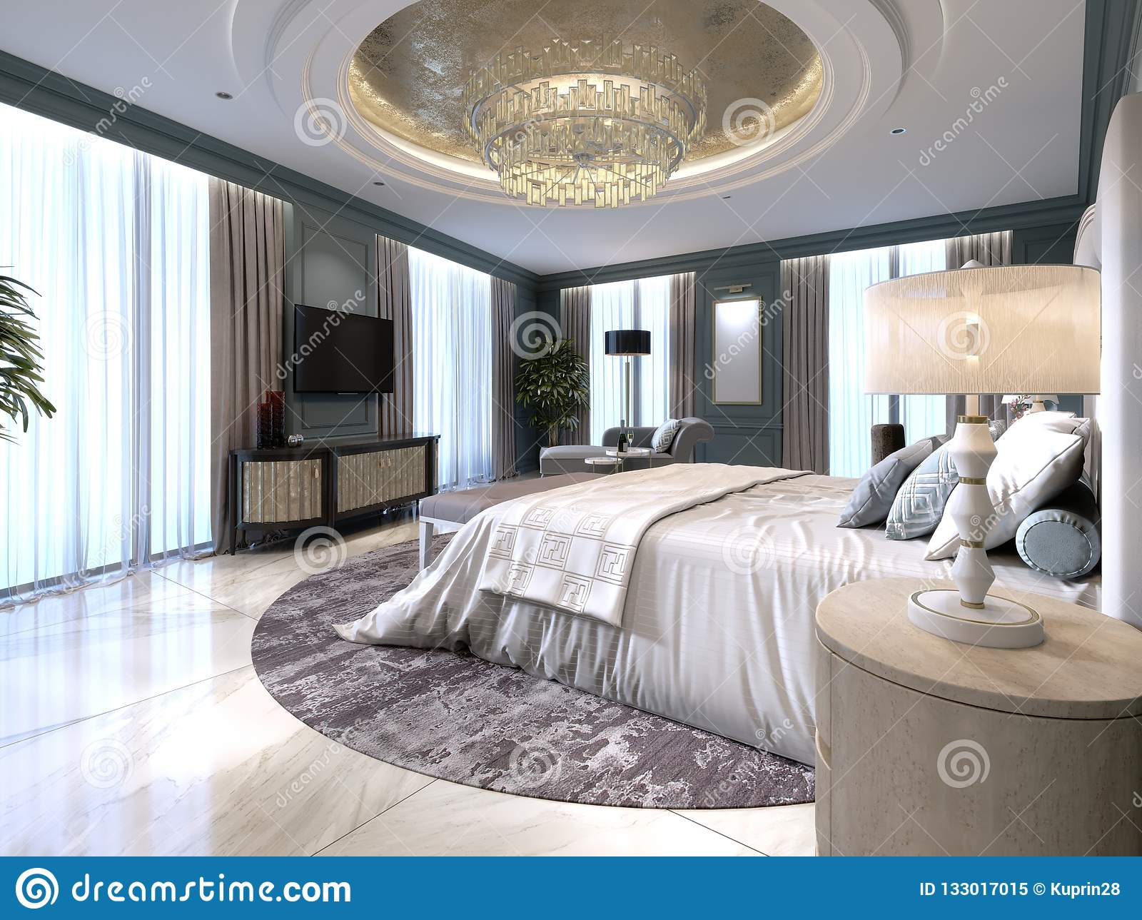 Wondrous The Modern Design Of The Bedroom With A Large White Bed And Pabps2019 Chair Design Images Pabps2019Com
