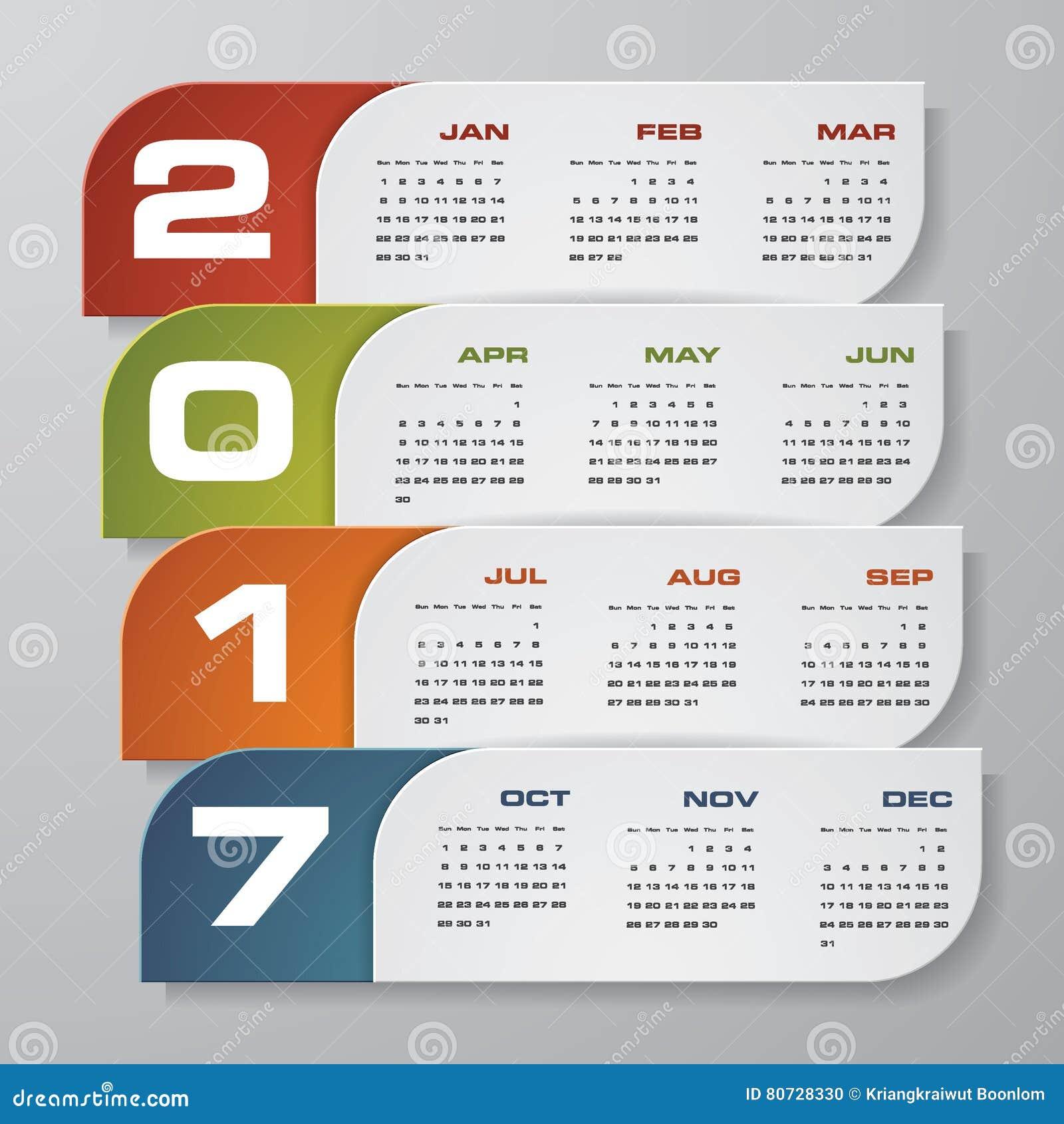 modern design calendar 2017 year vector design template 12 mounts