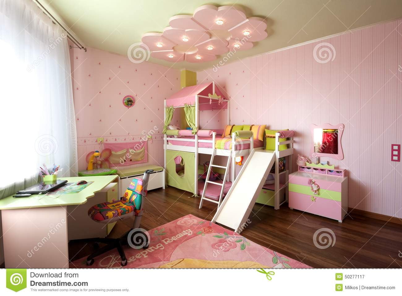 Modern design of a child room interior in pastel colors - Idee de lit ...