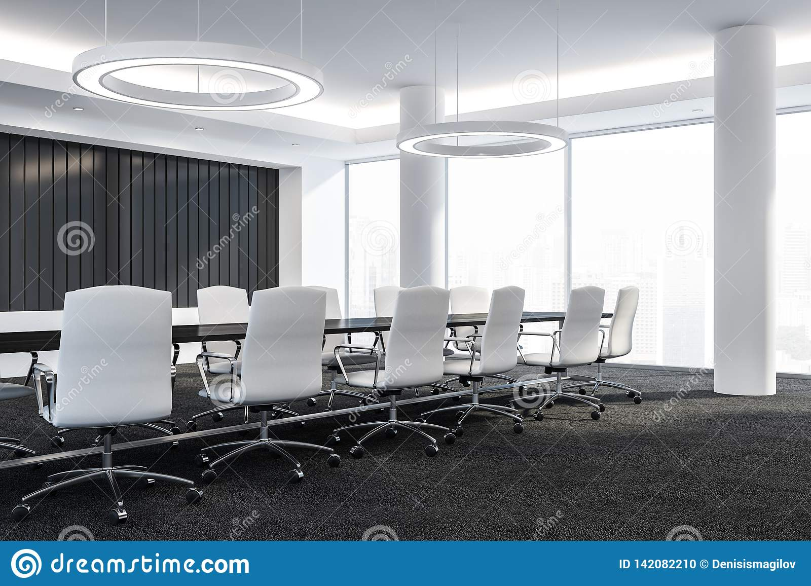 Modern Design Conference Room With Furniture, Big Windows And City View 3D  Render Stock Illustration - Illustration of corporate, boardroom: 142082210