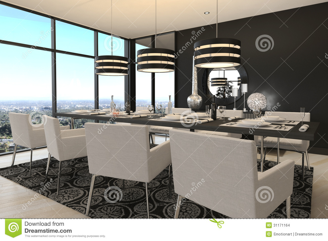 Modern design dining room living room interior stock illustration image 31171164 - Sala comedores modernos ...