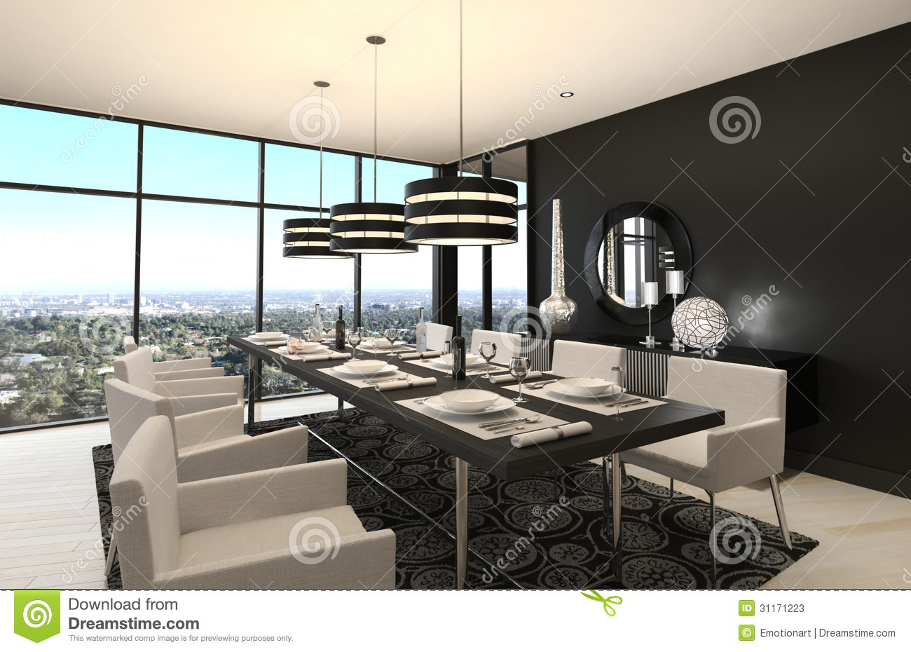 Modern design dining room living room interior stock for Modern dining room interior design