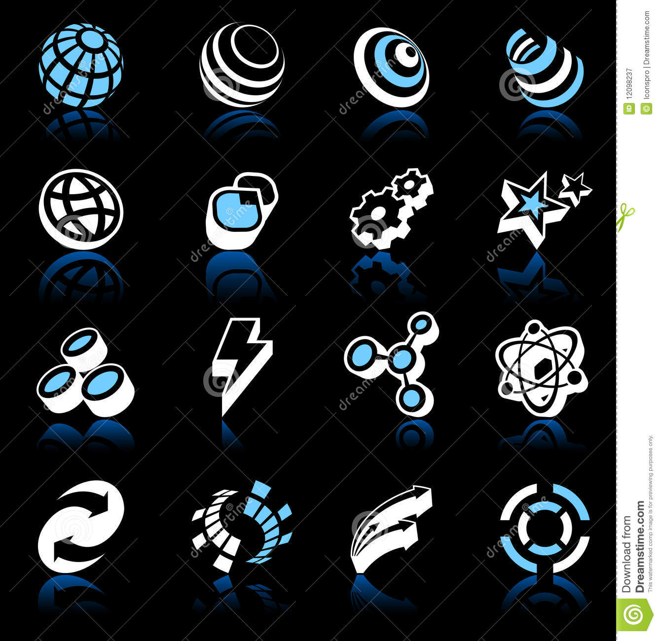 Modern Design Elements Collection On Black Stock Vector