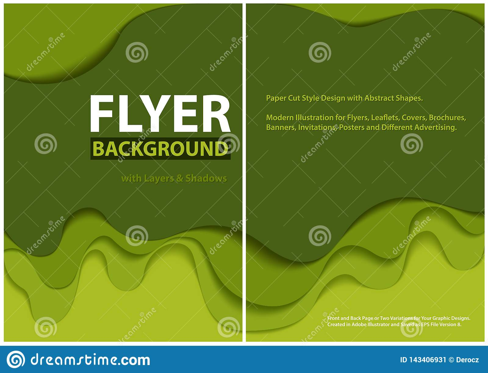 Modern design f?r stil f?r reklambladpapperssnitt med gr?na lager