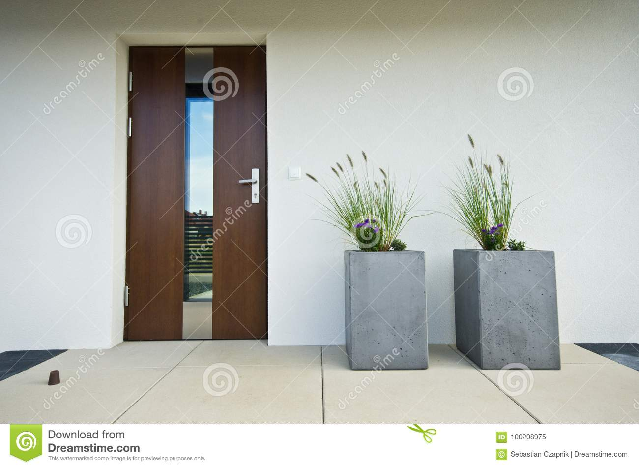 Two Cubic Concrete Flower Pots At Front Door Of A House Stock Image ...