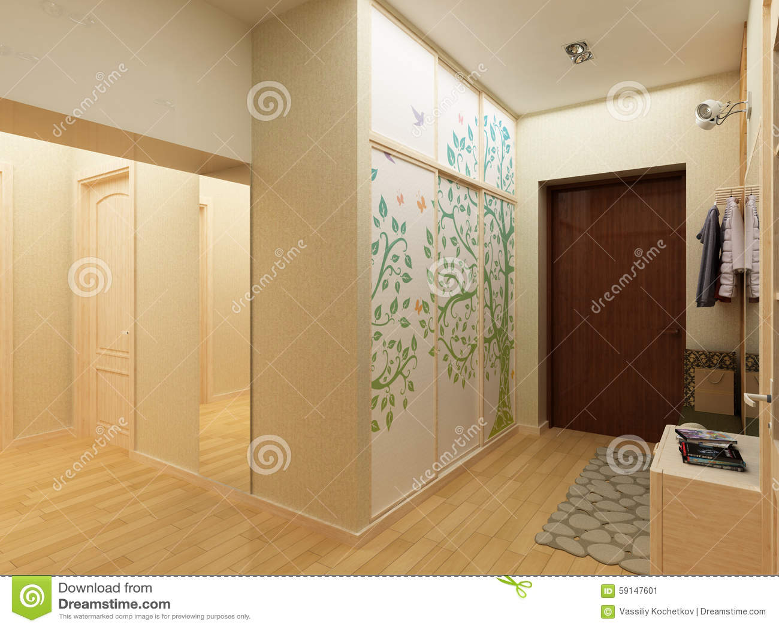 Modern design interior of hall corridor d render stock
