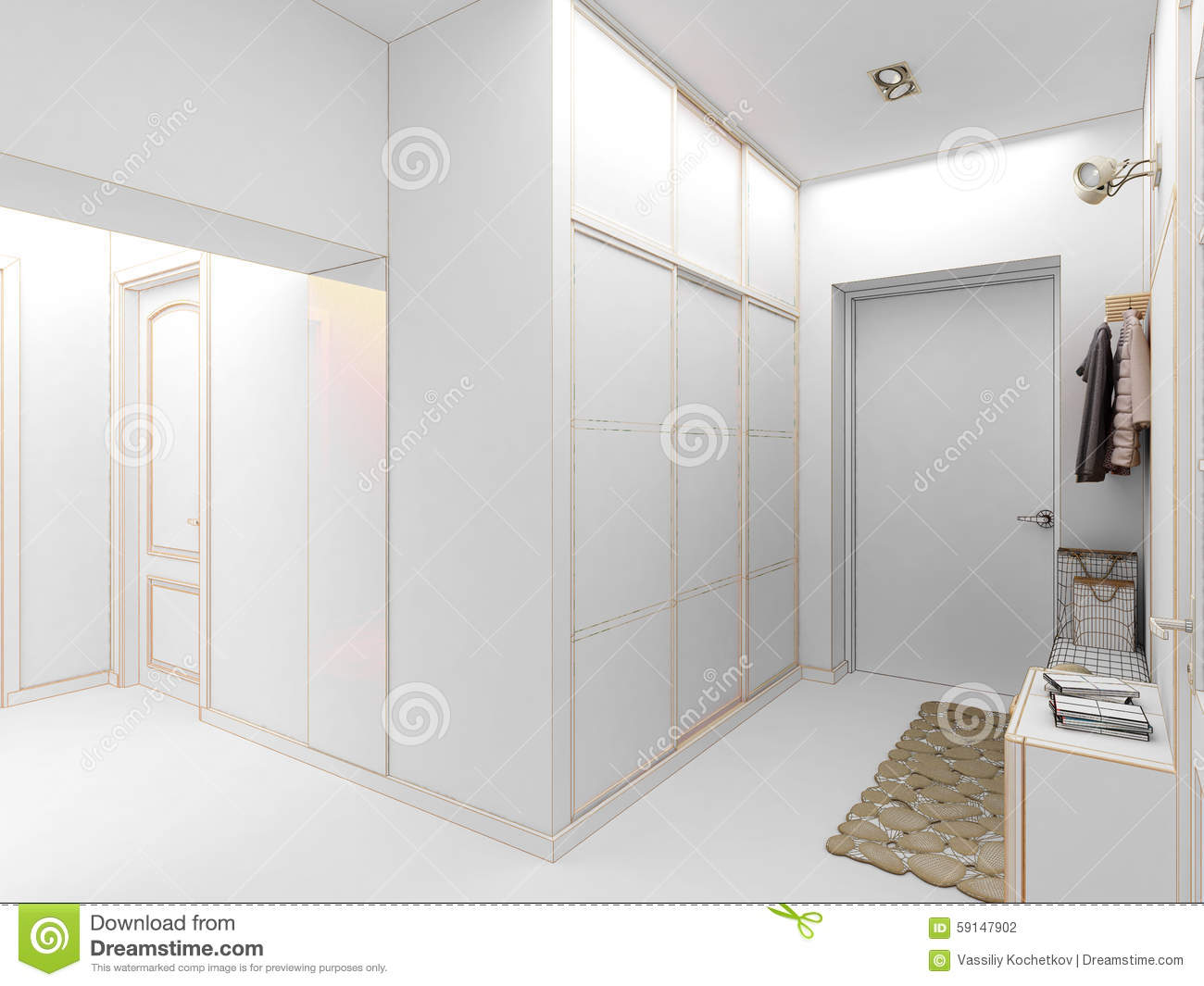 Modern design interior of hall corridor 3d render stock for New interior design for hall