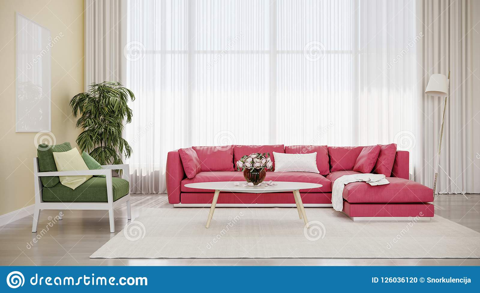 surprising red green living room | Modern Design Interior Living Room, Red Sofa With Green ...