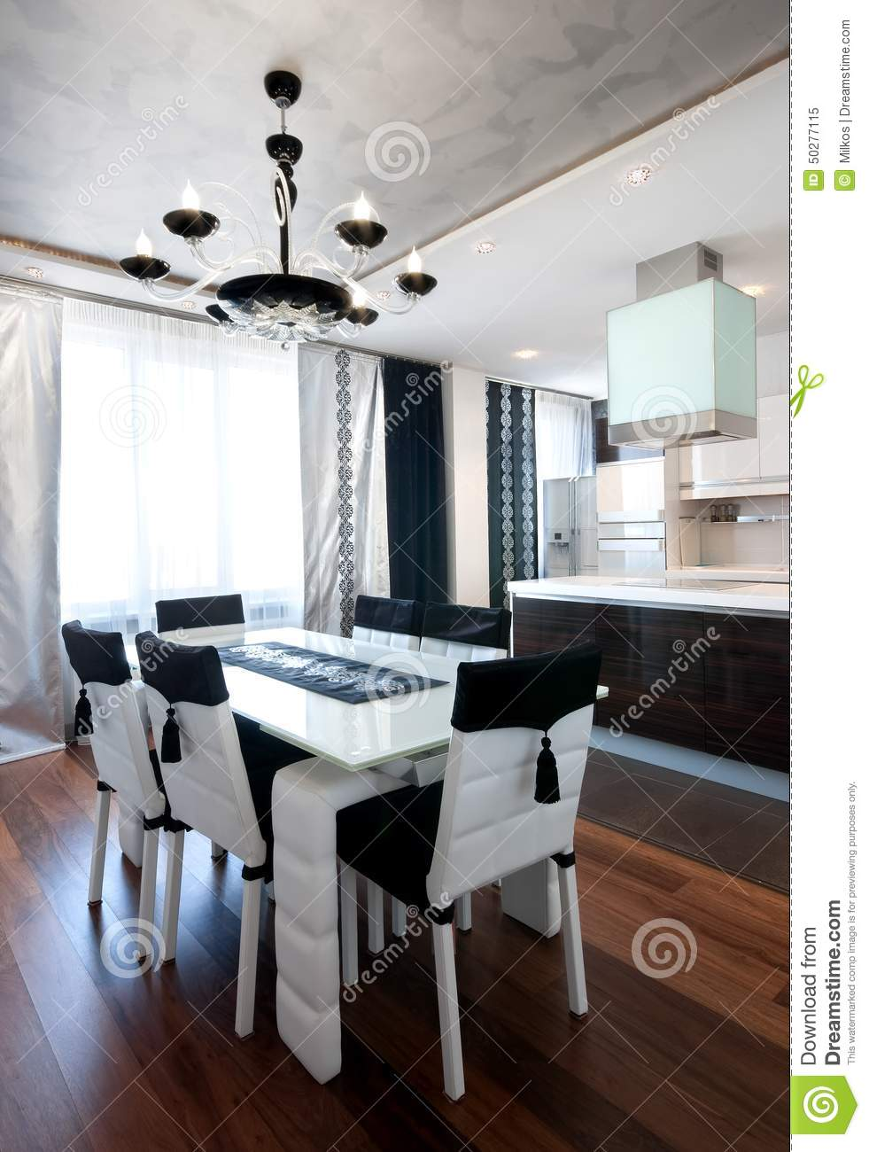 Modern Design Kitchen Interior In Black And White Stock Image Image 50277115