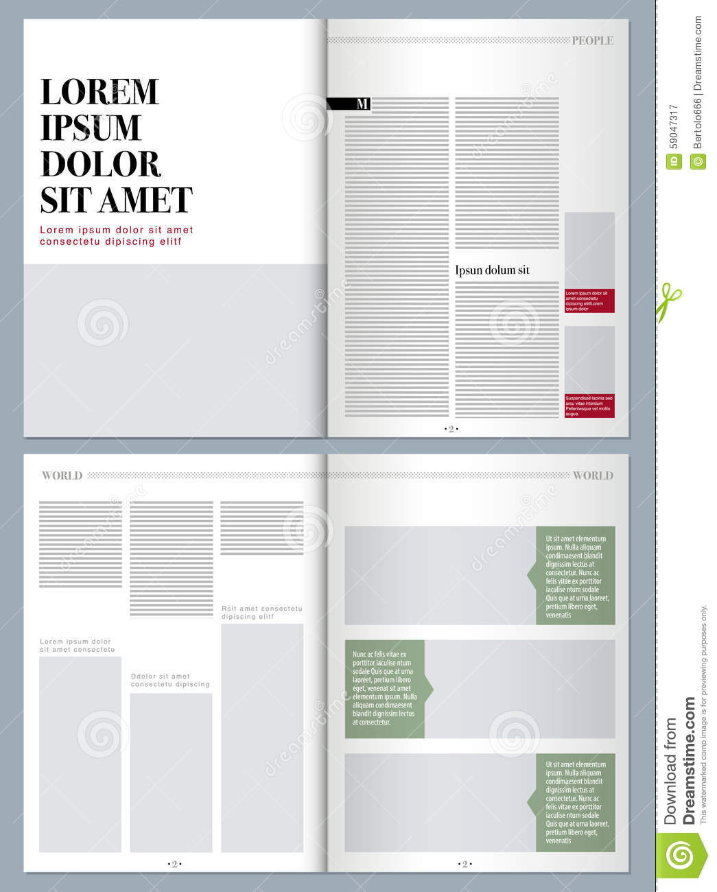 Modern design magazine stock illustration illustration of for Magazine layout templates free download