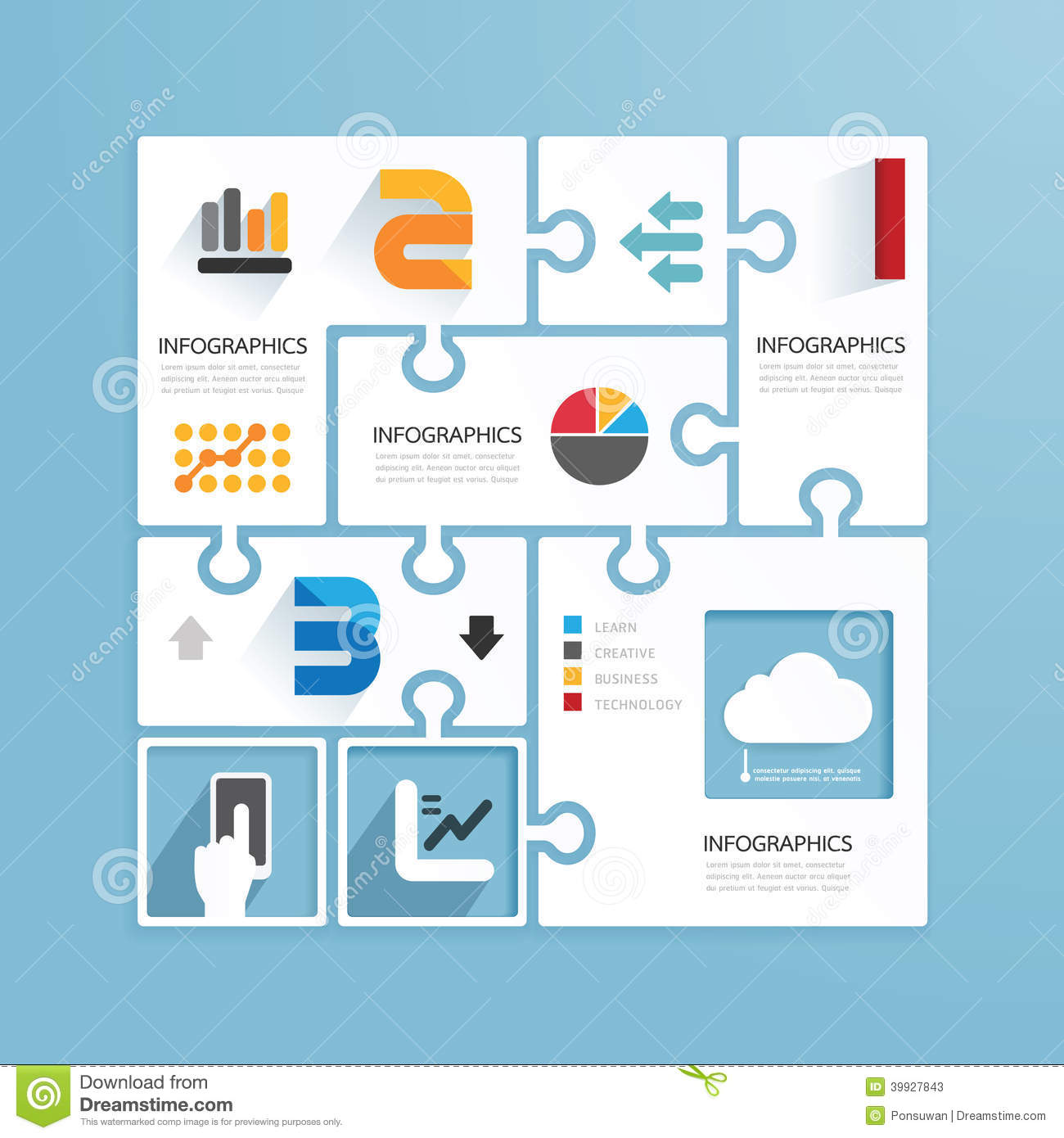 Modern Design Minimal Jigsaw Style Infographic Vector