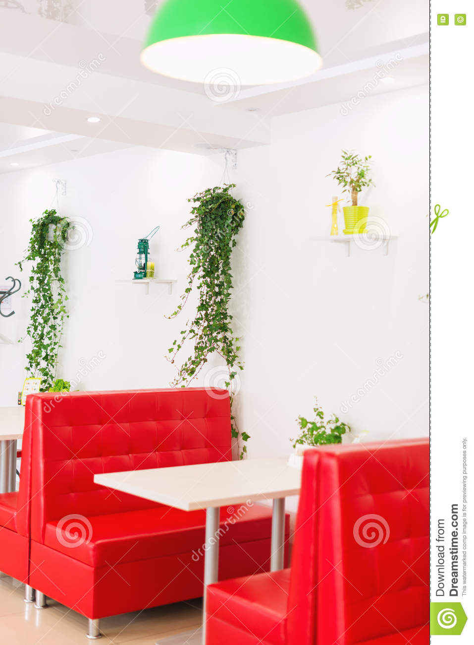 Modern Design Restaurant Interior In White And Red Colors With Plants Stock Photo Image Of Coffee Drink 73684616