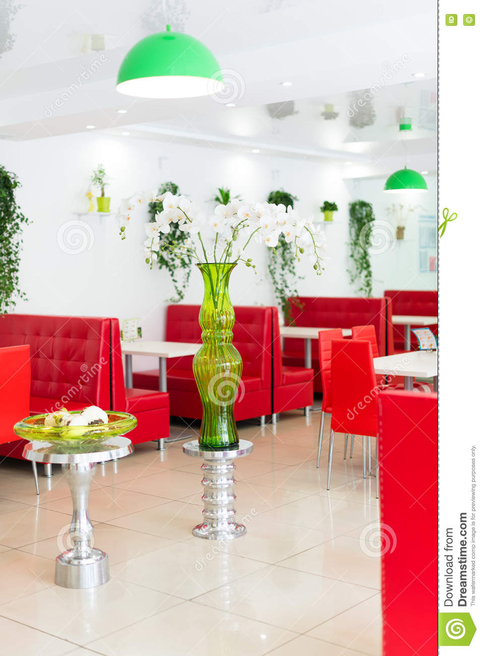 modern design restaurant interior in white and red colors with