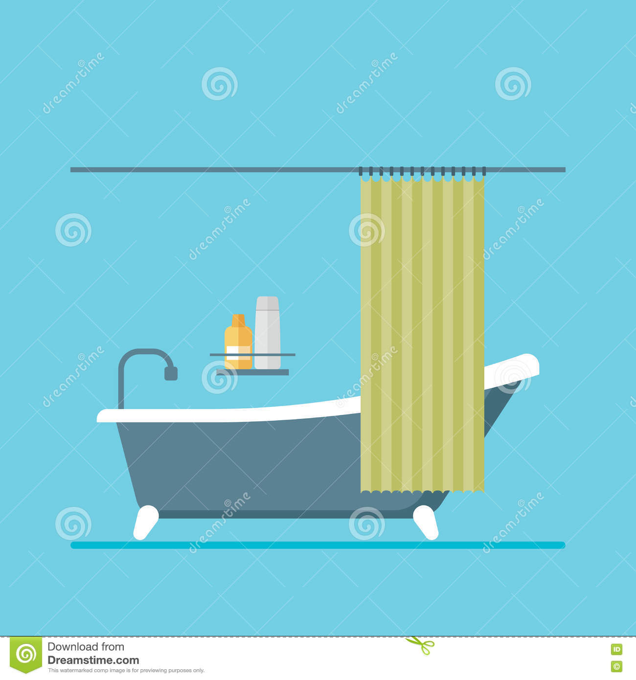 Modern Design Shower Room With A Curtain Stock Vector