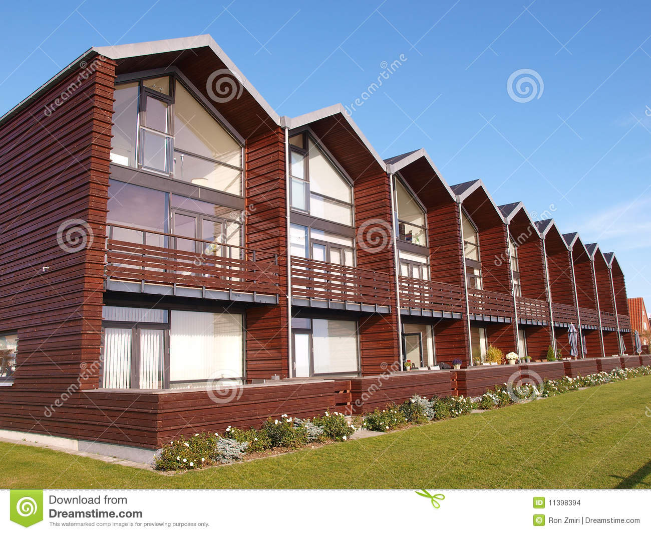 Modern Design Summer Houses By The Sea Stock Images