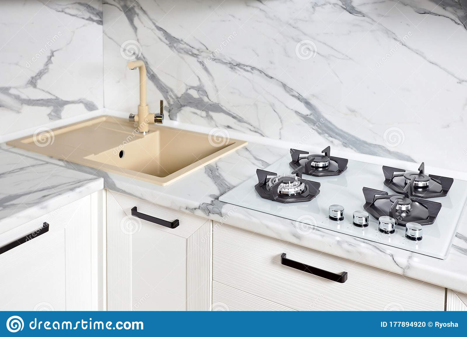 Modern Design Water Tap Over Stone Steel Kitchen Sink On Table Top Made Of Stone Marble Or Granite Stock Photo Image Of Drain Indoor 177894920