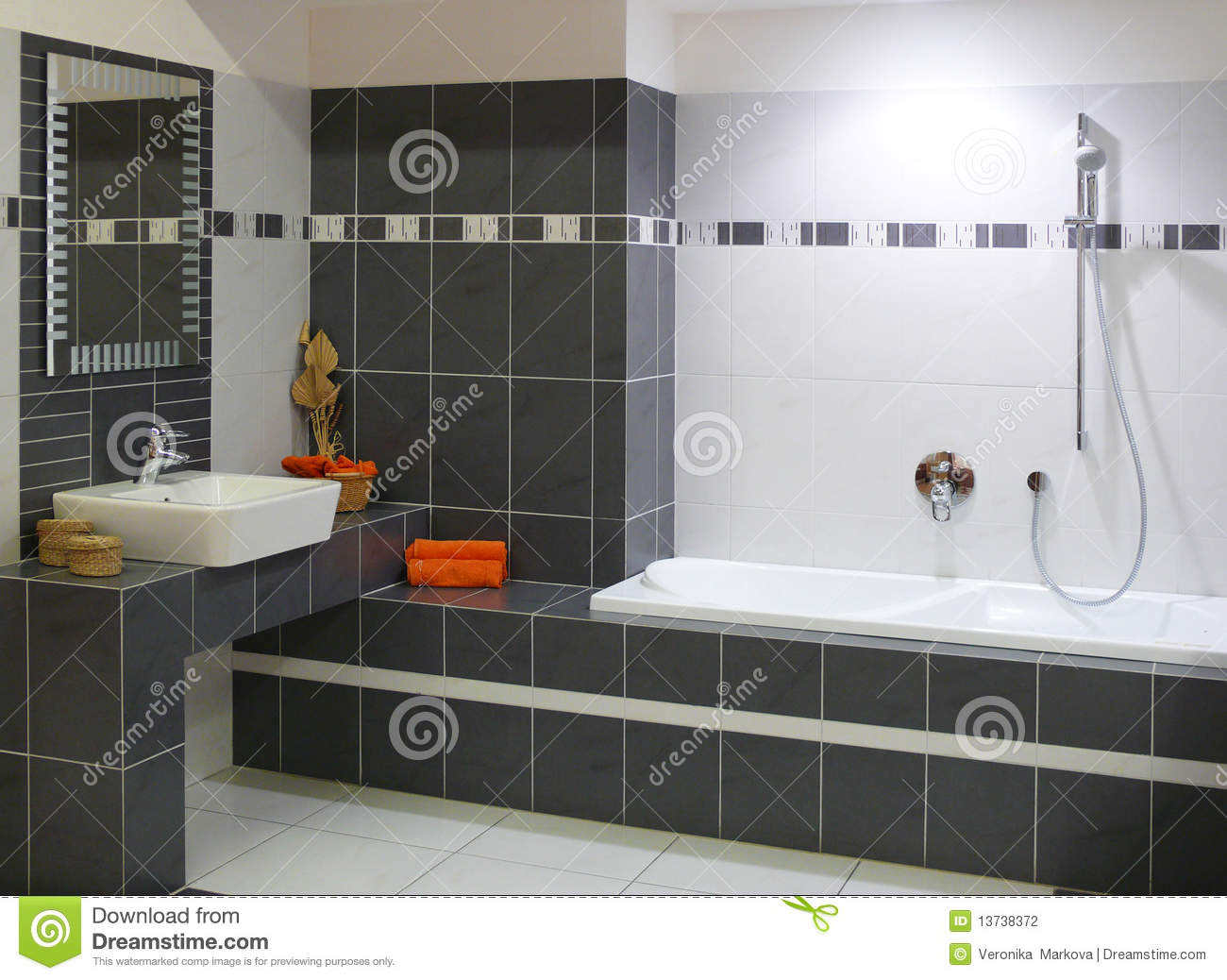 Modern designer bathroom stock photo image of elegance for Carrelage gris salle de bain