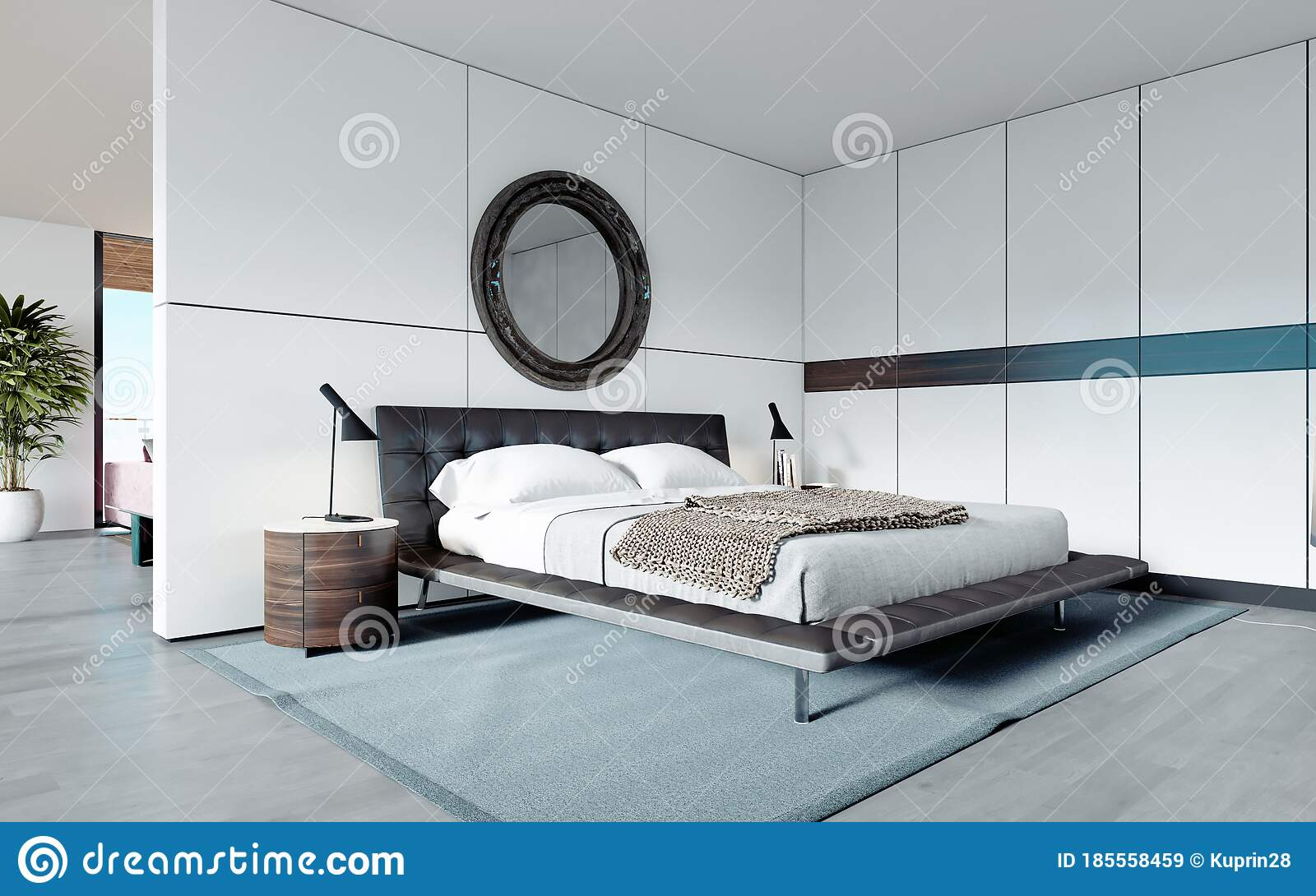 Modern Designer Bedroom In Scandinavian Style Wardrobe Round Mirror Panoramic Window From Floor To Ceiling Stock Illustration Illustration Of Accommodation Inside 185558459
