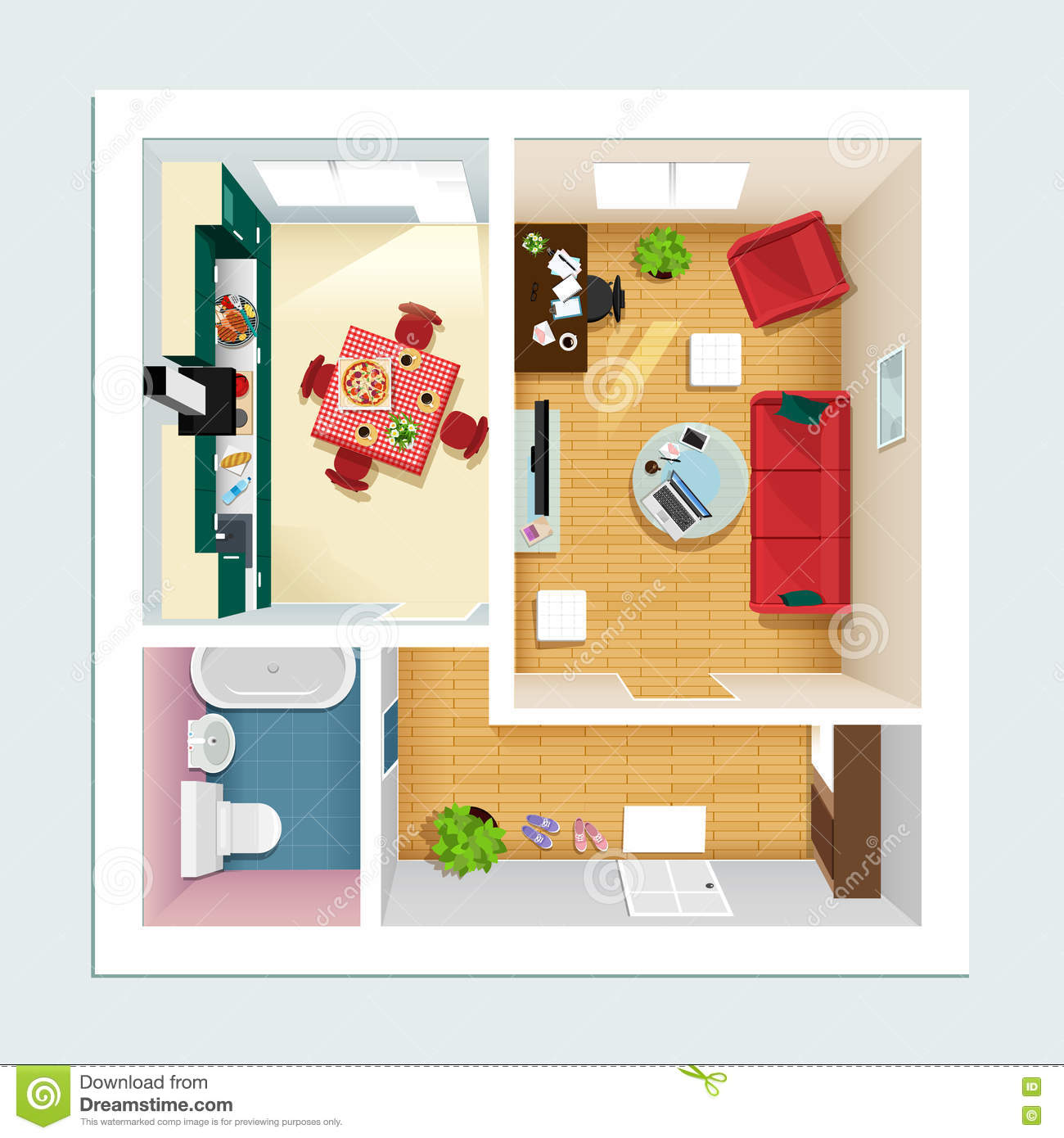 Top view interior furniture icons flat vector icons for Set up living room furniture floor plan