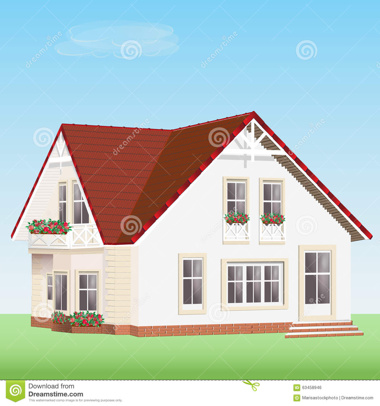 Modern Detailed Vector House With Flowers Cute Realistic