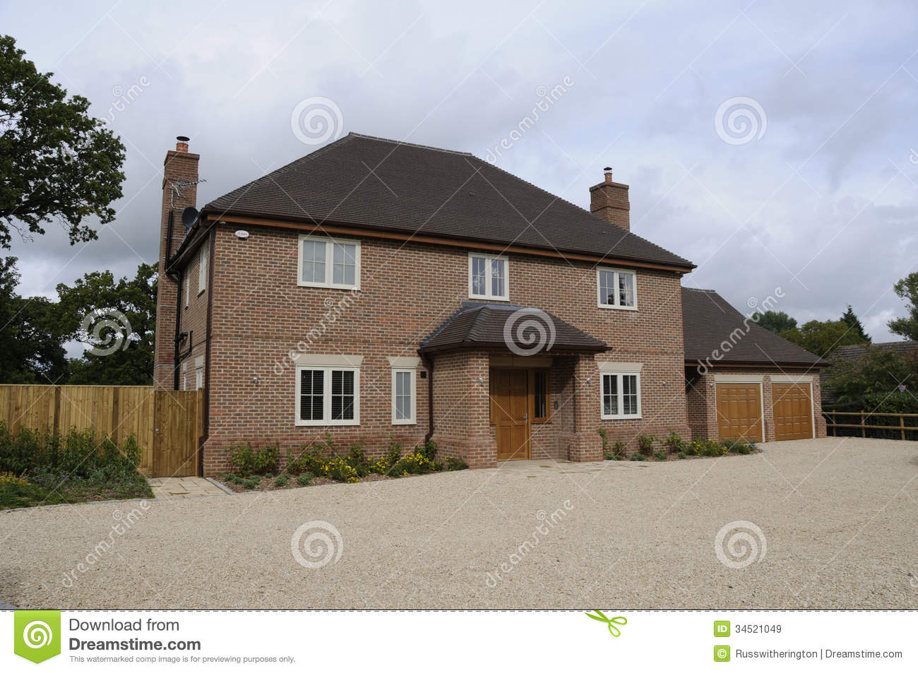 Modern detatched house stock image image of gravel door for House with big garage