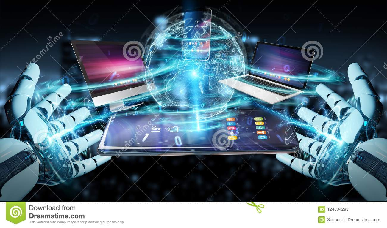 Modern Devices Connected In Robot Hand 3D Rendering Stock